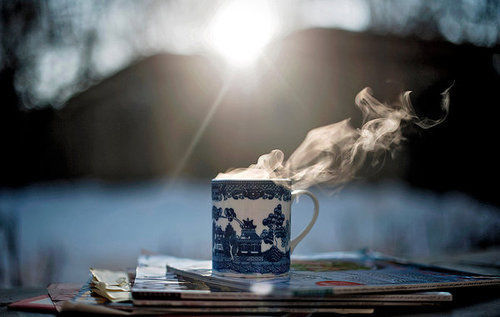 Hot steamy coffee