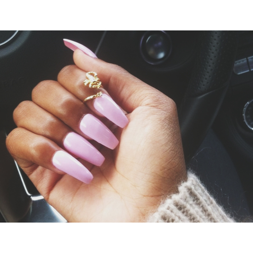 Squoval Acrylic Nails Tumblr Long Square Pink