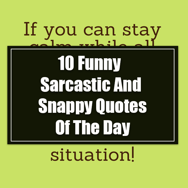 10 Funny Sarcastic And Snappy Quotes Of The Day