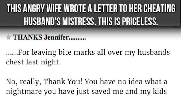 This Angry Wife Wrote A Letter To Her Cheating Husbands Mistress
