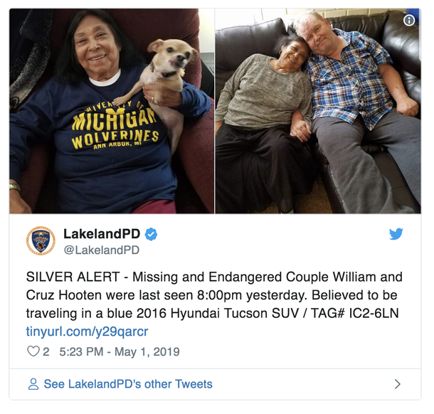 Cops Looking For Missing Elderly Couple With Major Health