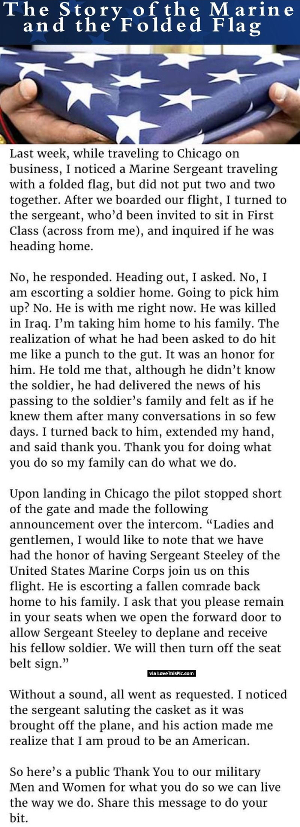 The Story Of The Marine And The Folded Flag