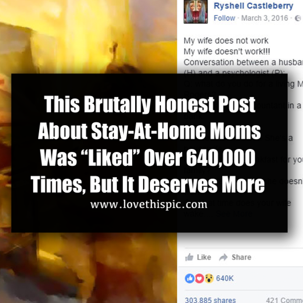 """This Brutally Honest Post About Stay-At-Home Moms Was """"Liked"""" Over"""